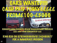 wanted! cars, vans, trucks, also unwanted caravans! mot failures! scrap! damaged! £150-£5000 cash!!!