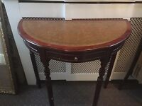 Wooden half moon table with single draw