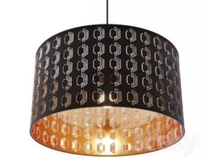 Set of 3 black with copper interior ceiling lamp shades