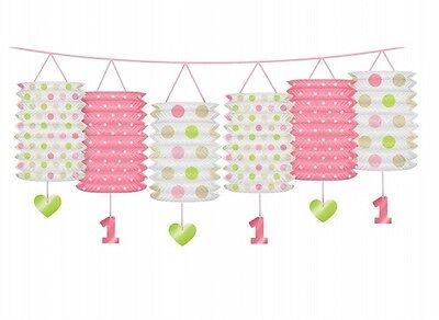 Laternen Girlande zum ersten Geburtstag - Geburtstagsdekoration 1 Baby Kind Herz (Ersten Geburtstag Dekoration)