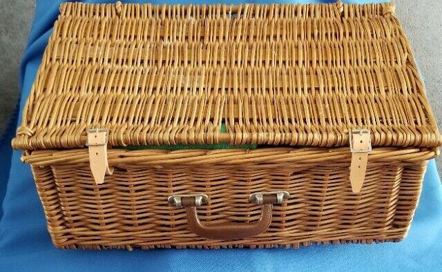 Vintage Brexton Wicker Rattan Picnic Basket