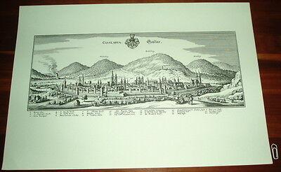 Goslar: alte Ansicht Merian Druck Stich 1650 Panorama