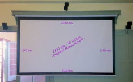 Projector Screen - 91 inch (2330 mm) - rolls up into aesthetic ti
