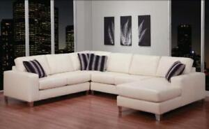 WHITE LEATHER SECTIONAL WITH CHAISE ON SALE (ND 142)