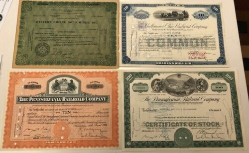 LOT OF 4 OLD STOCK CERTIFICATES, WESTERN EMPIRE GOLD MINES, B&O, PENN RAILROADS