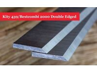 Kity 439/Bestcombi 2000 Double Edged Planer Blades Knives 200mm Long with Slots - 1 Pair