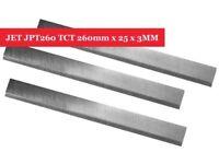 JET JPT260 Carbide (TCT) Planer/Jointer Blades Knives 260mm x 25 x 3MM - Set of 3