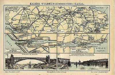 Kaiser Wilhelm Kanal Nordostseekanal Hochbrücke Karte von Binnen Hafen Sxz
