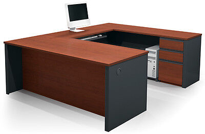 Bestar Prestige U Executive Workstation With Bordeaux Graphite Finish