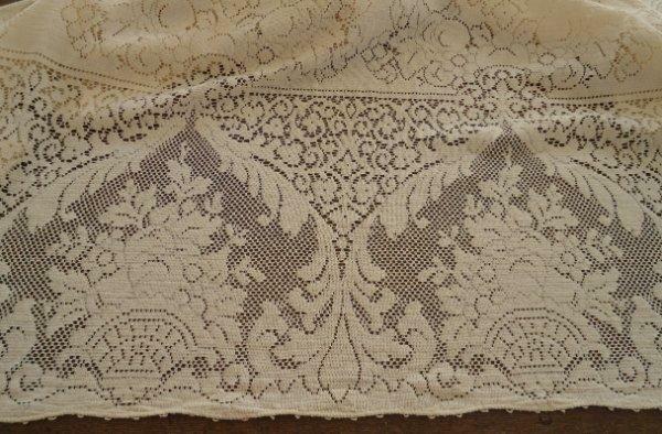 """True Vintage Quaker Lace Tablecloth Fruit & Flower Baskets Picots 79"""""""
