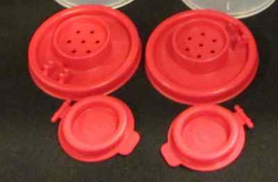 Tupperware Hourglass Salt & Pepper Shakers Replacement Seals & Caps in Red New
