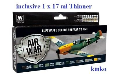 Vallejo Model Air 71165 Farbset Luftwaffe Colors Pre-War 1941 incl.17 ml Thinner