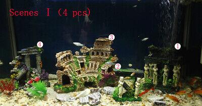 Roman Ruins Kit Coliseum Column Skull Aquarium Decor Fish Tank Cave Ornament