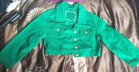 Stunning green cropped summer jacket size 10