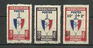"French INDOCHINA 1943 "" National emergency "" Complete set 3 new stamps * (3858) - France - Type: Stamps Quality: No Gum original Region: French Indochina Country of Manufacture: France Year of Issue: 1943 - France"