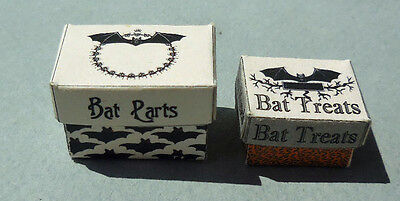DOLLHOUSE MINIATURE ~ HALLOWEEN BAT PARTS & BAT TREAT BOXES   - Halloween Bat Treats