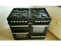 Black and chrome Range cooker like new