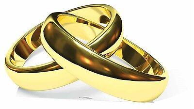 Rings Cardboard Stand (Gold Wedding Rings Cardboard Cutout / Standee / Stand Up honeymoon anniversary )