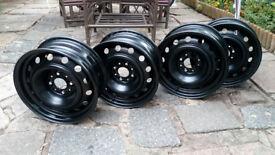 """BRAND NEW ! set of STEEL WHEEL RIMS for Citroen, Peugeot 4x108, 15"""" with valves"""