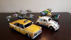 Collection of vintage metal cars and planes