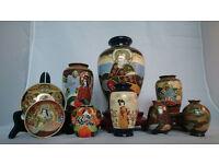 9 Satsuma (Moriage) items - Japan - first half 20th century