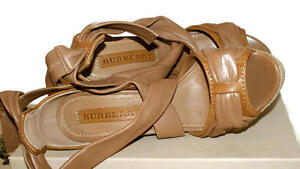 Brand new Burberry washed leather Aumale wedge sandal.