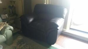Black Overstuffed Faux Leather Armchair