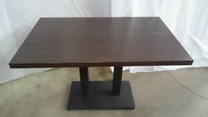 Wood top tables with metal base