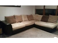 Brown leather and cream soft L shaped sofa