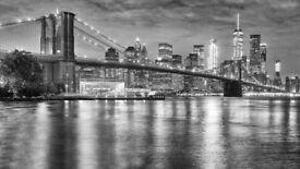 Photo wallpaper PANORAMIC SKYLINE OF BROOKLYN BRIDGE AND MANHATTAN AT NIGHT