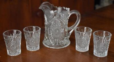 LOVELY ANTIQUE PRESSED GLASS CHILD'S SIZE PITCHER AND FOUR TUMBLERS