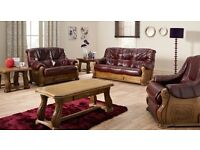 Rochelle Leather Sofa, Choice of two seater and three seater BRAND NEW best price