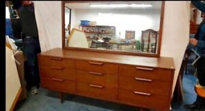 Mcm  walnut vintage dresser with mirror