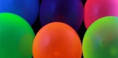 GLOW PARTY!!  25 Assorted 11 inch UV Blacklight Latex Balloons Neon Assortment