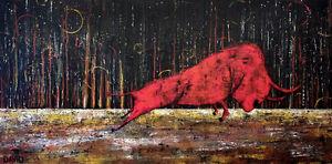 """Peinture Acrylique 24""""x48"""" Red Bull Taureau !"""