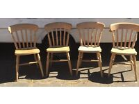 Set of 4 solid wood country style kitchen chairs quality and very heavy