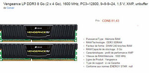 Carte Mémoire 2 x 4GB