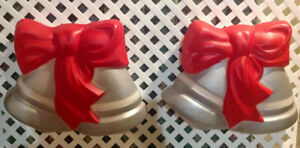 2 VINTAGE  CHRISTMAS BELLS WITH BOWS LIGHTED BLOWMOLDS