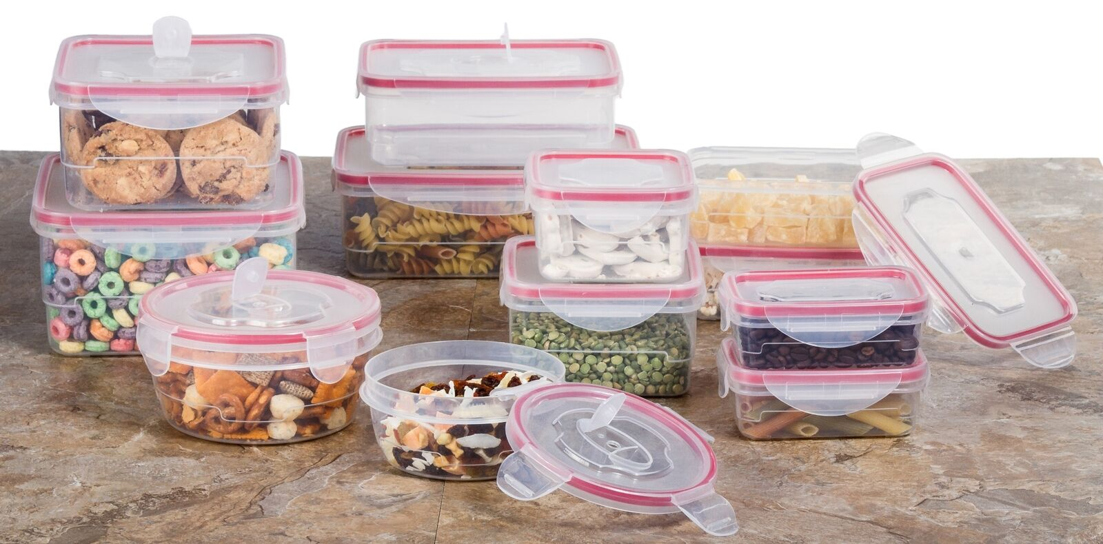Reusable Microwave Plastic Container Set -  24 Plastic Food