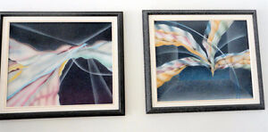 Set of 2 black framed abstract print wall hanging decorative London Ontario image 1