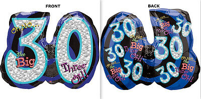 Oh No... the Big Three-OH! 21 x 26 in Prismatic SuperShape Foil Balloon - 116049 - Big 21 Balloons