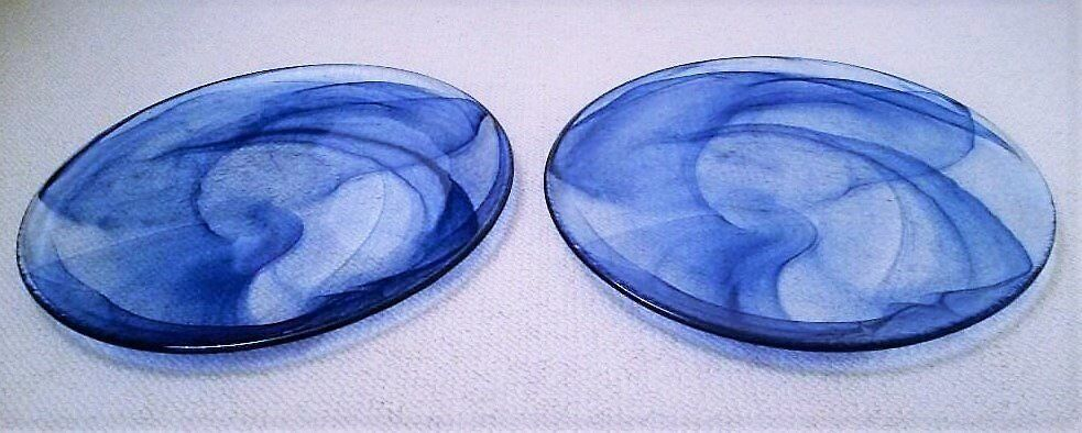 NEW Pair of Large MURANO Contemporary Italian Handmade Glass Plates: Blue/ Clear/ Glassware/Ornament