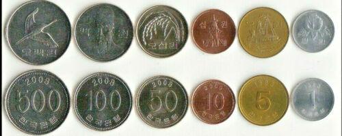 SOUTH KOREA 7-PIECE UNCIRCULATED COIN SET, 1 TO 500 WON