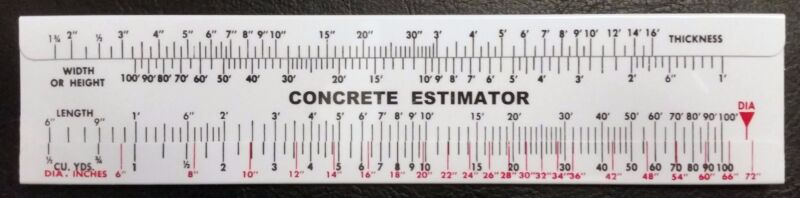 Concrete Slide Rule 100 Yard Volume Calculator  Great Gift for Contractors!!