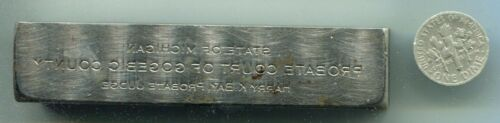 Harry K. Bay, Probate Judge, Gogebic County, Michigan, Steel Printing Block