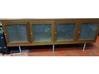 Wooden Sideboard with Glass Doors and Shelfs Excellent Condition