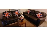 SCS Brown leather 3 seater and 2 seater sofa nice and comfortable