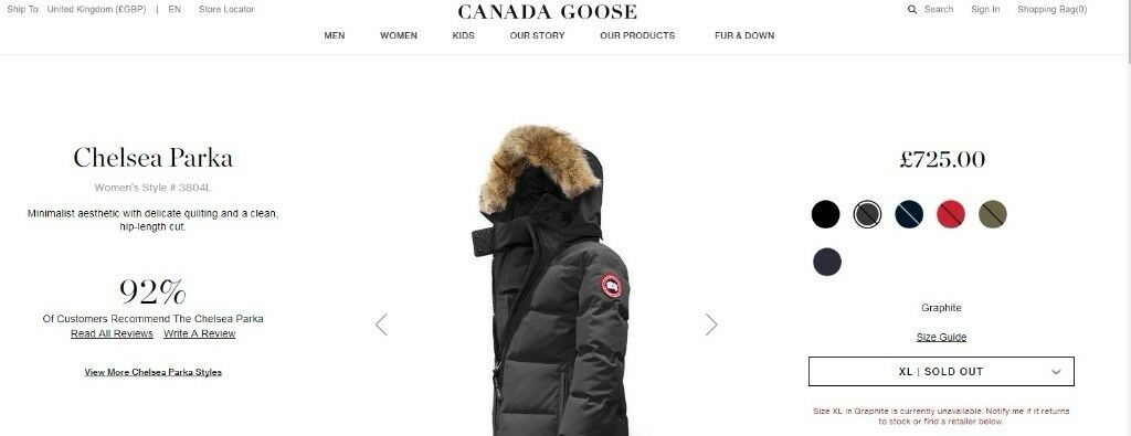 3d905392e00 GENUINE Canada Goose Womens Chelsea Parka in Graphite Grey (WITH BOX) *Sold  out online*