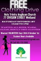 Free clothing drive in welland LOTS OF HOURS!