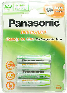 Panasonic Infinium AAA Rechargeable Batteries 4 pack (Ready to Use) 800mAh Ni-Mh